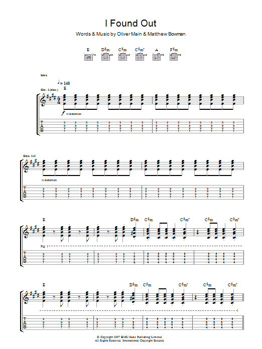I Found Out (Guitar Tab)