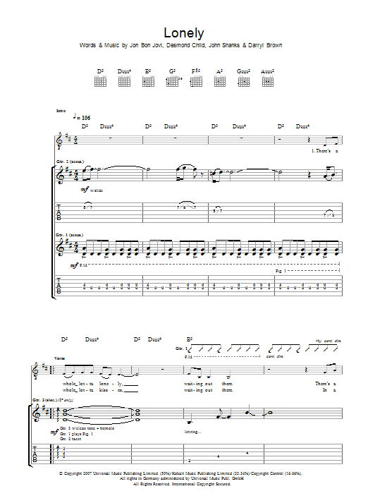 Lonely (Guitar Tab)