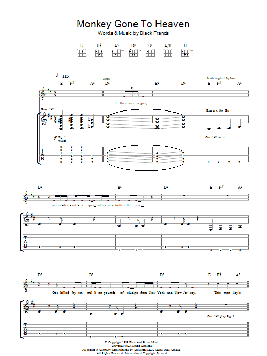 Monkey Gone To Heaven (Guitar Tab)