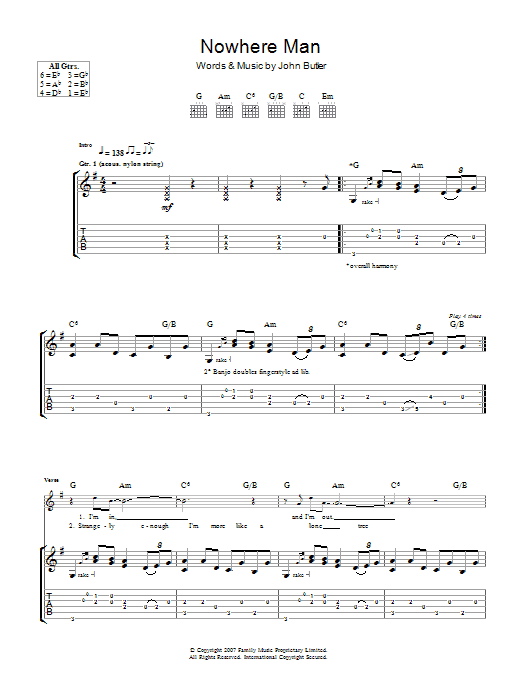 Nowhere Man (Guitar Tab)
