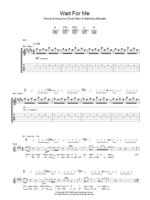 Wait For Me (Guitar Tab)