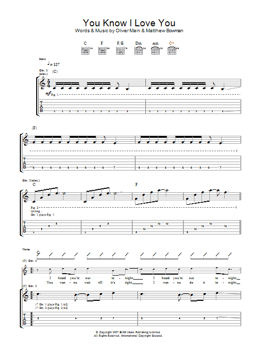 You Know I Love You (Guitar Tab)