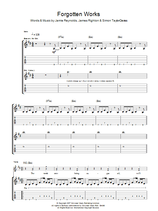 Forgotten Works (Guitar Tab)