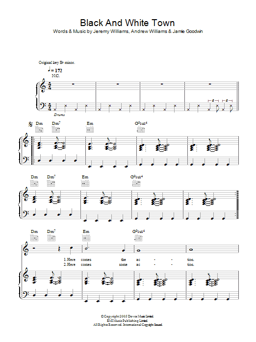 Black And White Town (Piano, Vocal & Guitar)