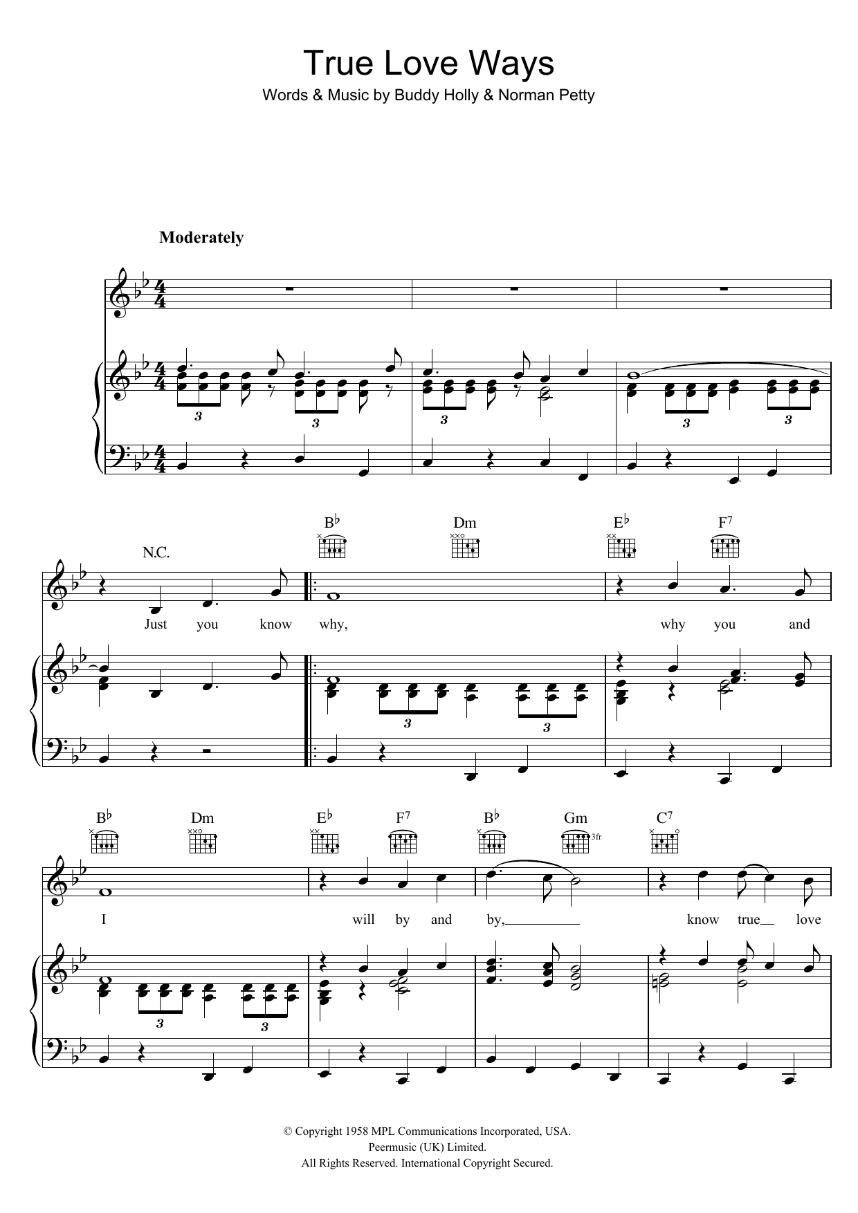 True Love Ways (Piano, Vocal & Guitar)