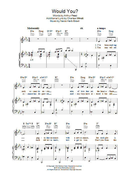 Would You? Sheet Music