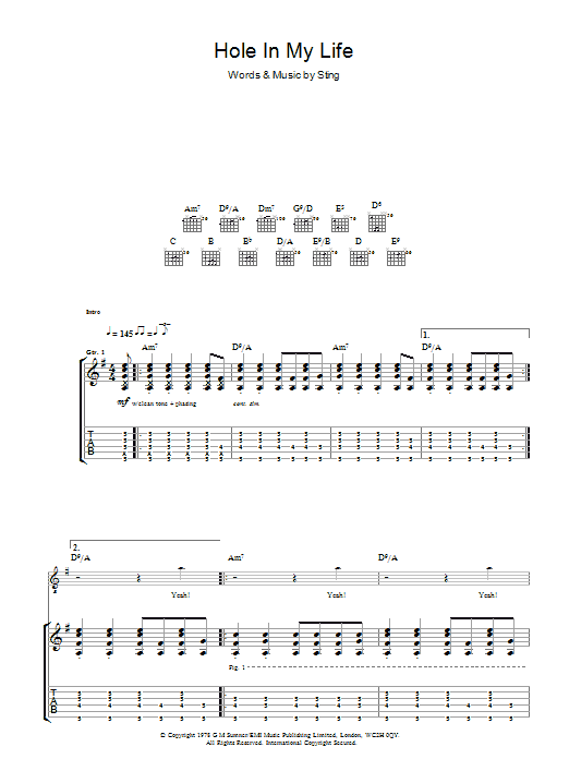 Hole In My Life (Guitar Tab)