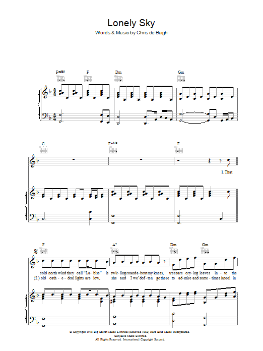 Lonely Sky Sheet Music