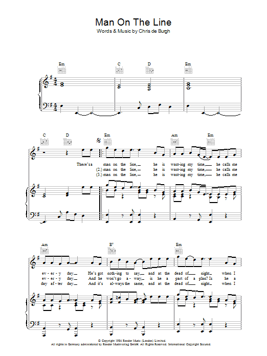 Man On The Line (Piano, Vocal & Guitar)