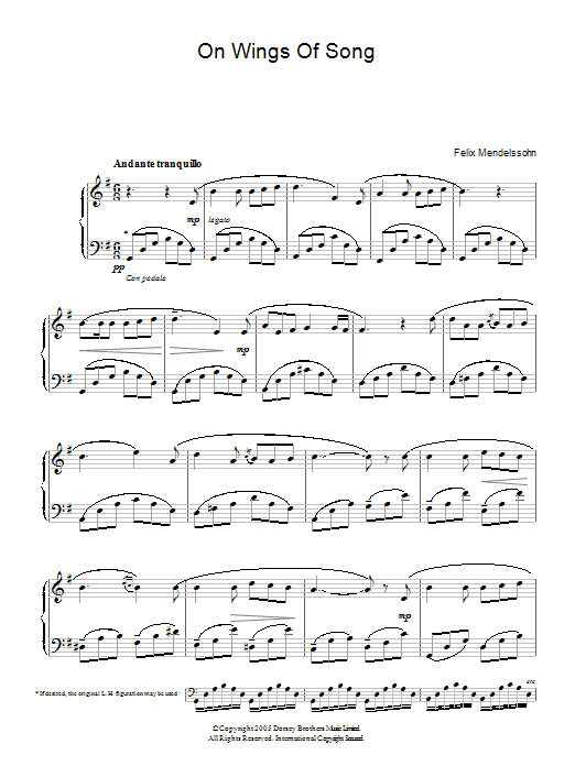On Wings Of Song Sheet Music