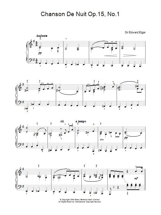 Chanson De Nuit Op.15, No.1 Sheet Music