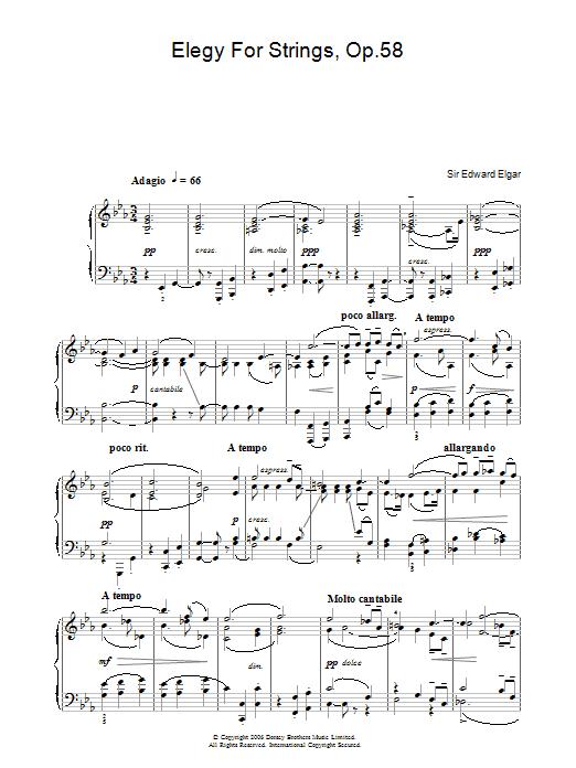 Elegy For Strings, Op.58 Sheet Music