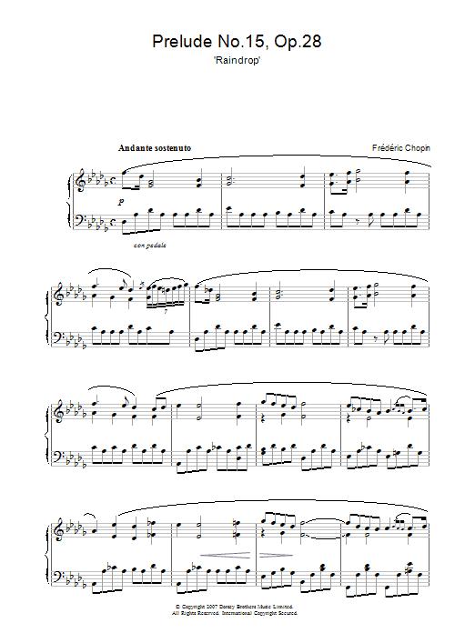 Prelude In Db Major, Op. 28, No. 15 (Raindrop) (Piano Solo)