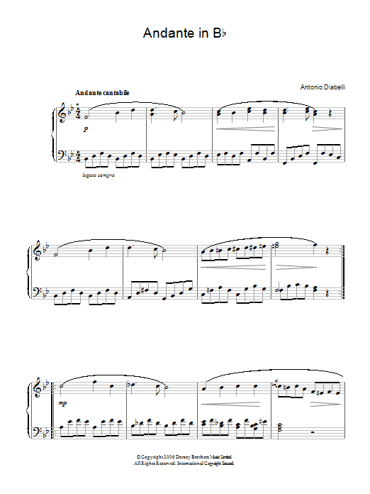 Andante In B Flat Sheet Music