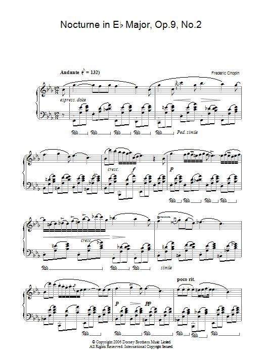 Nocturne In Eb Major, Op. 9, No. 2 (Piano Solo)