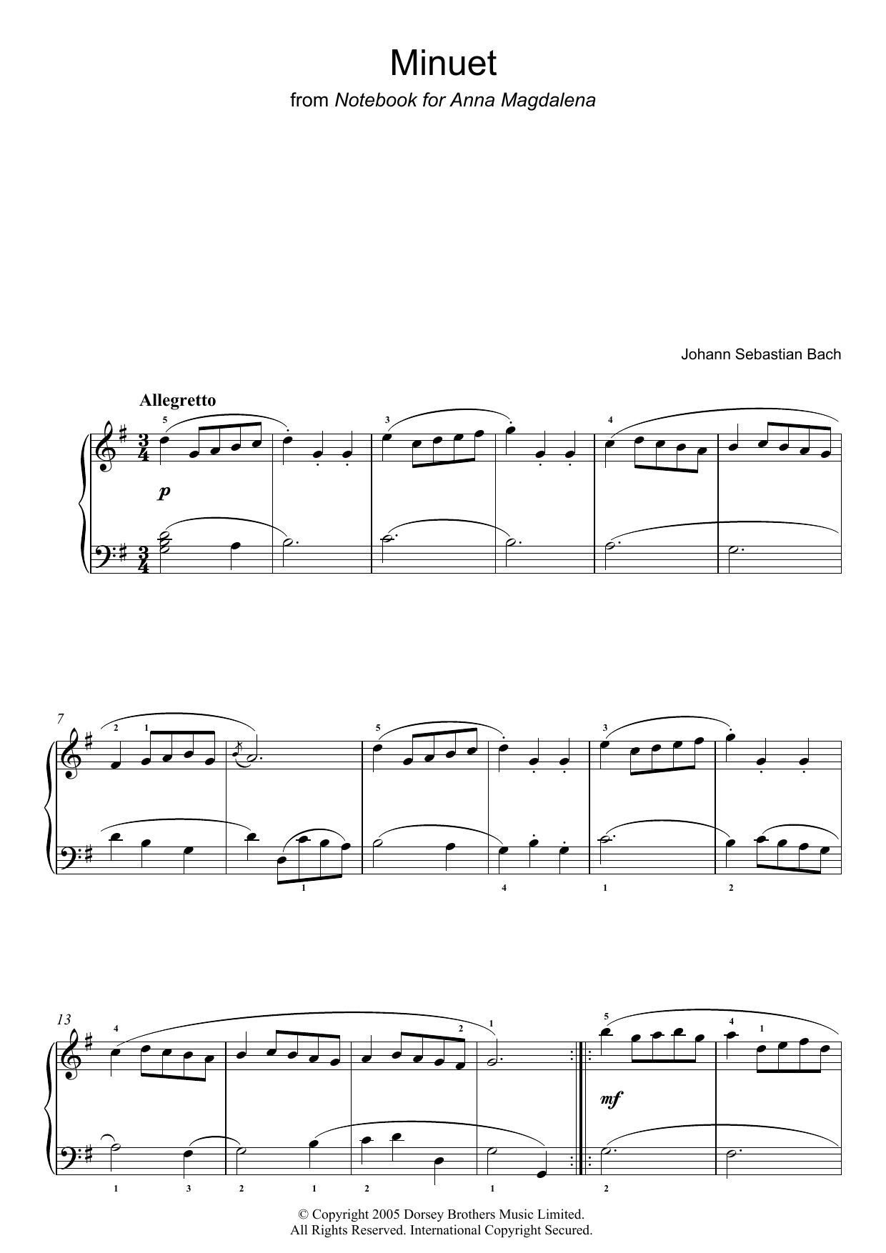 Minuet in G Major (from The Anna Magdalena Notebook) (Piano Solo)
