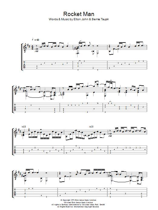 Rocket Man (I Think It's Gonna Be A Long Long Time) (Guitar Tab)