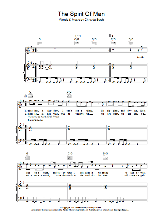 The Spirit Of Man (Piano, Vocal & Guitar)
