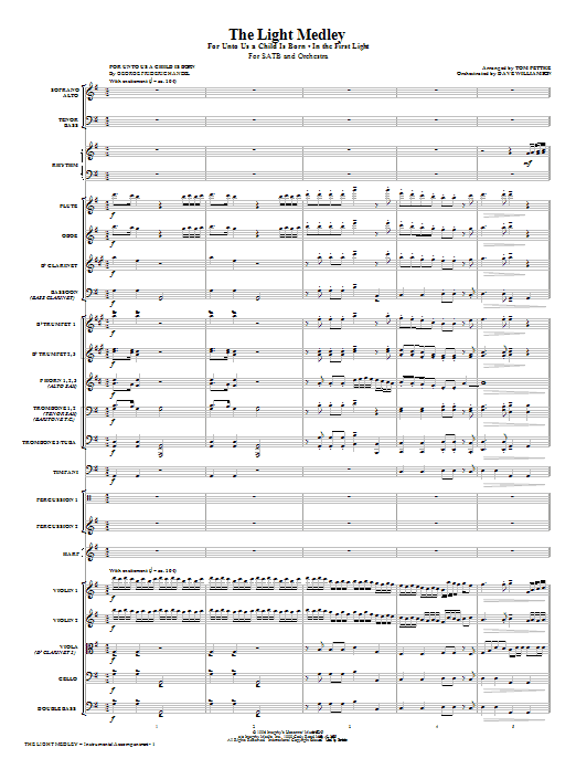 The Light Medley (COMPLETE) sheet music for orchestra/band (Orchestra) by Tom Fettke. Score Image Preview.