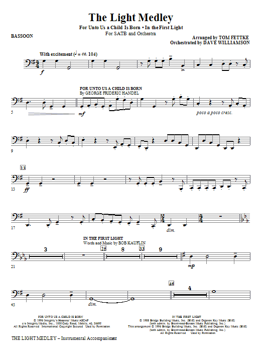 The Light Medley - Bassoon (Choir Instrumental Pak)