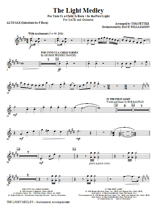 The Light Medley - Alto Sax 1, 2, 3 (sub. Horn) (Choir Instrumental Pak)
