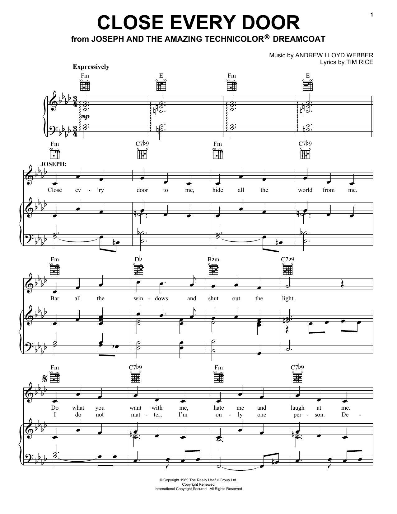 Close Every Door Sheet Music