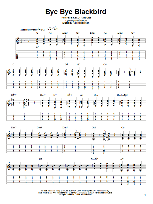 Bye Bye Blackbird (Guitar Tab (Single Guitar))