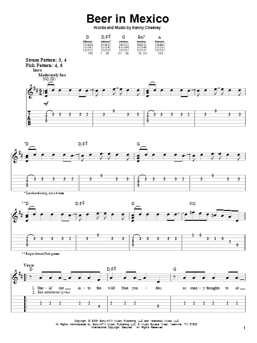 Beer In Mexico by Kenny Chesney - Easy Guitar Tab - Guitar Instructor
