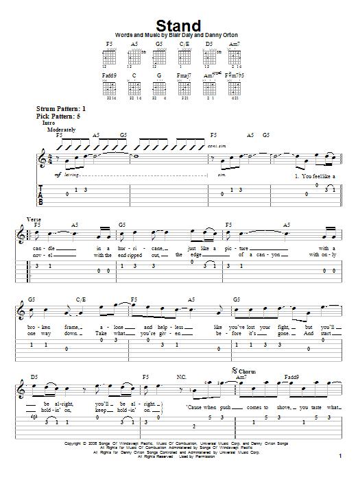Tablature guitare Stand de Rascal Flatts - Tablature guitare facile