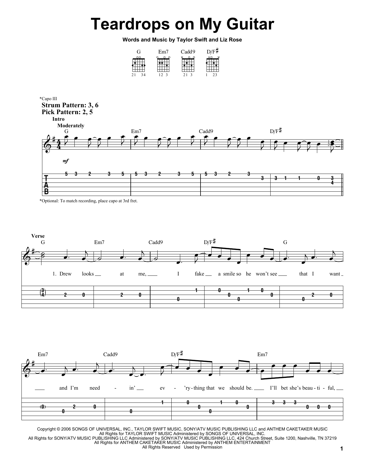 Teardrops On My Guitar By Taylor Swift Easy Guitar Tab Guitar