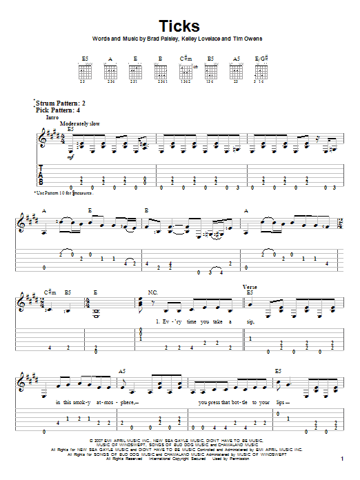 Tablature guitare Ticks de Brad Paisley - Tablature guitare facile
