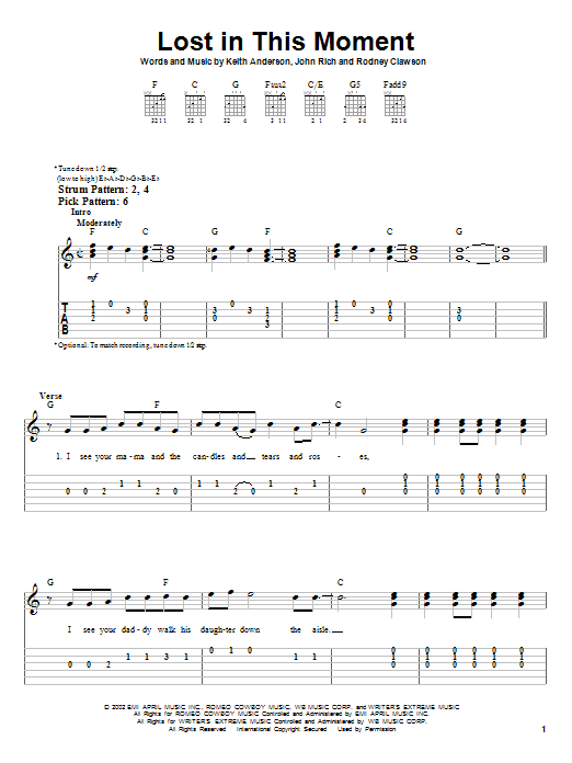 Tablature guitare Lost In This Moment de Big & Rich - Tablature guitare facile