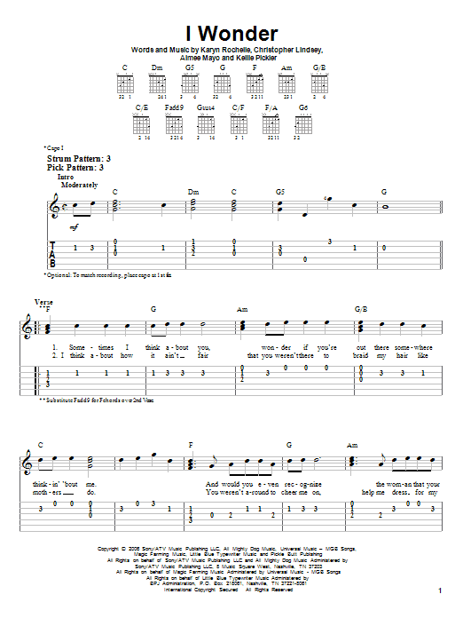 I Wonder (Easy Guitar Tab)