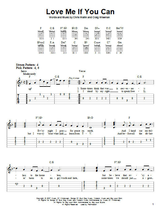 Love Me If You Can (Easy Guitar Tab)