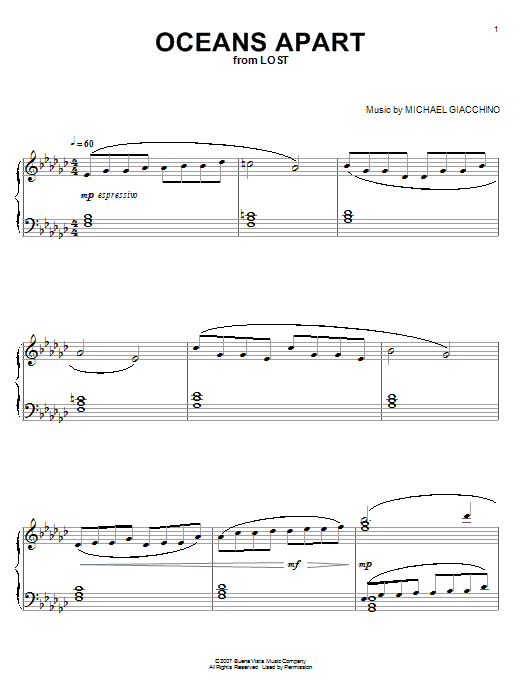 Partition piano Oceans Apart (from Lost) de Michael Giacchino - Piano Solo