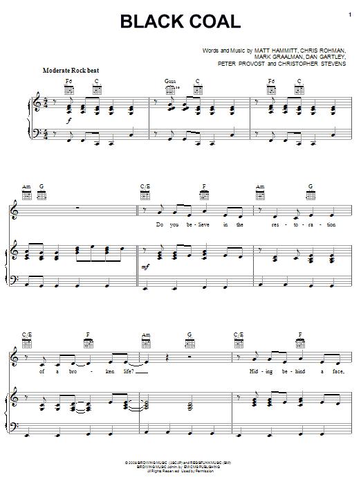 Black Coal (Piano, Vocal & Guitar (Right-Hand Melody))