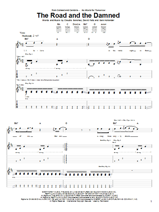 Tablature guitare The Road And The Damned de Coheed And Cambria - Tablature Guitare