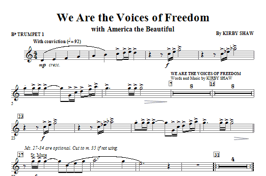 We Are The Voices Of Freedom (complete set of parts) sheet music for orchestra/band (chamber ensemble) by Kirby Shaw, Katherine Lee Bates and Samuel Augustus Ward. Score Image Preview.