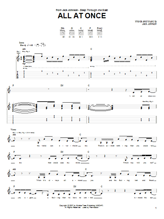 Tablature guitare All At Once de Jack Johnson - Tablature Guitare