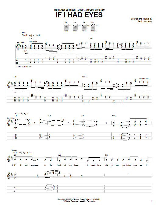 Tablature guitare If I Had Eyes de Jack Johnson - Tablature Guitare