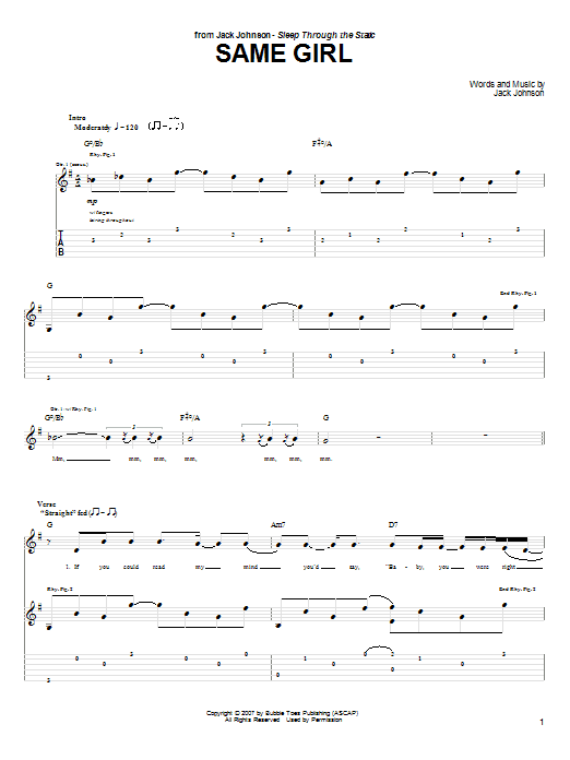 Tablature guitare Same Girl de Jack Johnson - Tablature Guitare