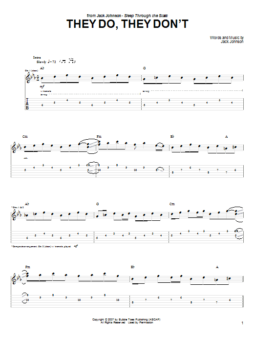 Tablature guitare They Do, They Don't de Jack Johnson - Tablature Guitare