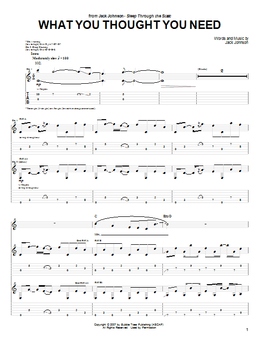 Tablature guitare What You Thought You Need de Jack Johnson - Tablature Guitare