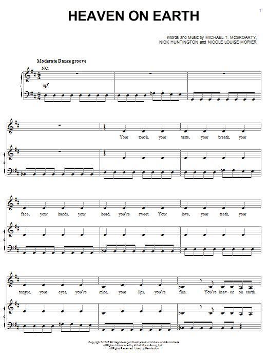 Heaven On Earth (Piano, Vocal & Guitar (Right-Hand Melody))