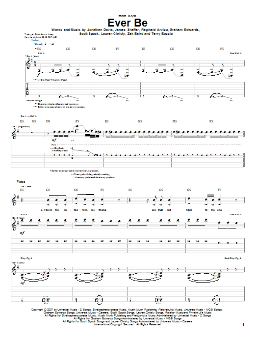 Tablature guitare Ever Be de Korn - Tablature Guitare