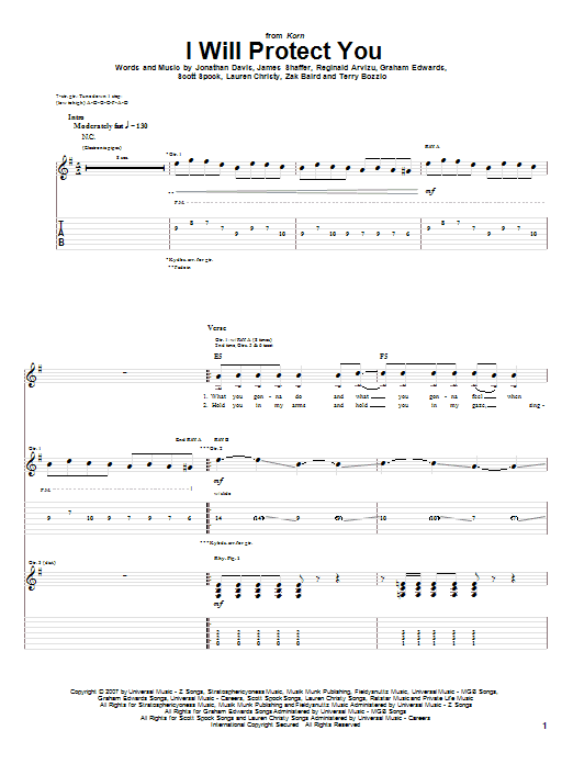 Tablature guitare I Will Protect You de Korn - Tablature Guitare