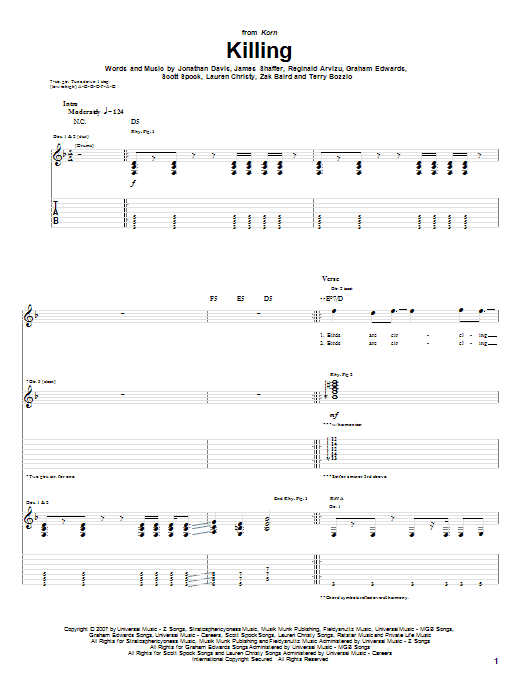 Tablature guitare Killing de Korn - Tablature Guitare