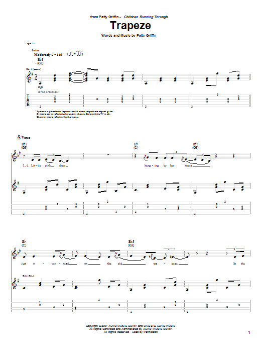 Tablature guitare Trapeze de Patty Griffin - Tablature Guitare