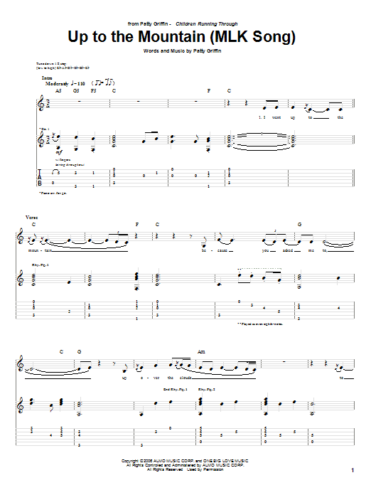 Tablature guitare Up To The Mountain (MLK Song) de Patty Griffin - Tablature Guitare