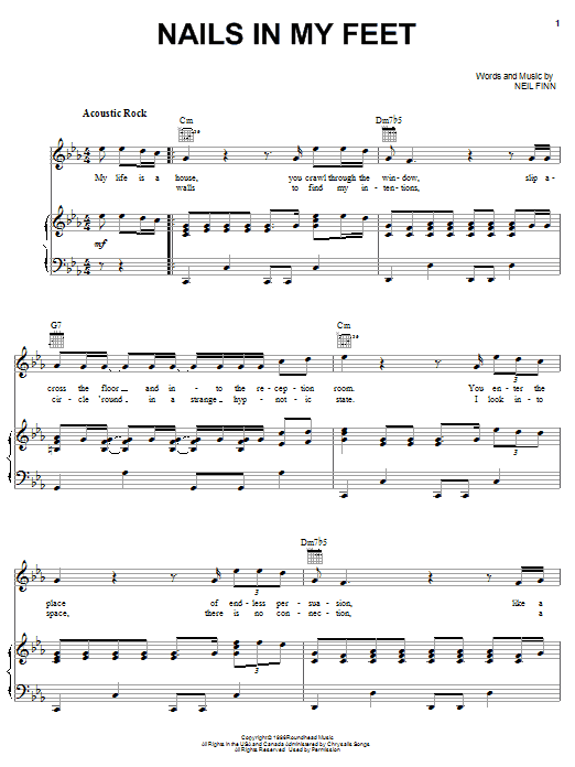 Nails In My Feet (Piano, Vocal & Guitar (Right-Hand Melody))